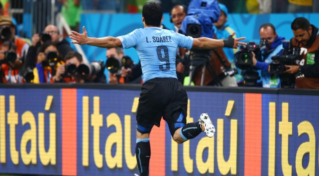 2014 FIFA World Cup Luis Suarez Uruguay goal celebration