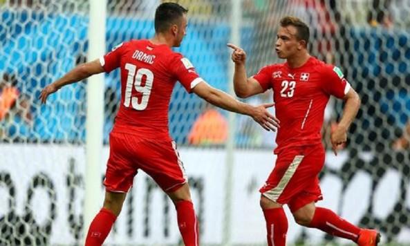 2014 FIFA World Cup Xherdan Shaqiri Switzerland goal celebration