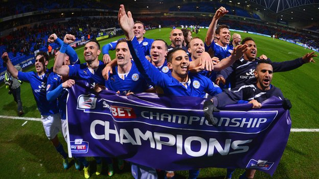 Leicester City Sky Bet Champions celebration