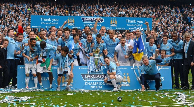 Manchester City FA Cup trophy celebration