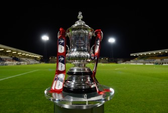 HARTLEPOOL, ENGLAND - DECEMBER 05:  The FA Cup trophy on display ahead of the FA Cup Second Round match between Hartlepool United and Blyth Spartans at Victoria Park on December 5, 2014 in Hartlepool, England.  (Photo by Mike Hewitt/Getty Images)