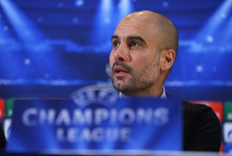 MANCHESTER, ENGLAND - NOVEMBER 24:  Pep Guardiola the coach of FC Bayern Muenchen faces the media during a press conference at the Lowry Hotel on November 24, 2014 in Manchester, United Kingdom.  (Photo by Alex Livesey/Getty Images)
