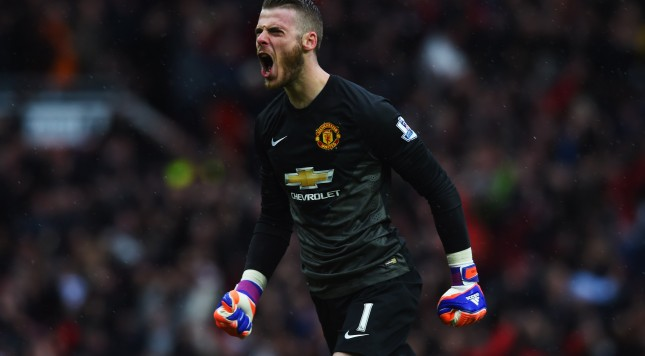 MANCHESTER, ENGLAND - APRIL 12:  David De Gea of Manchester United celebrates during the Barclays Premier League match between Manchester United and Manchester City at Old Trafford on April 12, 2015 in Manchester, England.  (Photo by Michael Regan/Getty Images)