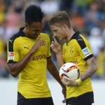 ST GALLEN, SWITZERLAND - JULY 25:  Marco Reus of Dortmund (R) celebrates his team's second goal with team mate Pierre-Emerick Aubameyang during the friendly match between Juventus and Borussia Dortmund on July 25, 2015 in St Gallen, Switzerland.  (Photo by Daniel Kopatsch/Getty Images)