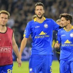 BELGRADE, SERBIA - AUGUST 26. Aleksandr Hleb (L) Nemanja Milunovic (C) and Filip Mladenovic (R) of BATE celebrate after the UEFA Champions League Qualifying Round Play Off Second Leg match between Partizan Belgrade and BATE at Partizan stadium in Belgrade, Serbia on Wednesday, August 26, 2015. (Photo by Srdjan Stevanovic/Getty Images)