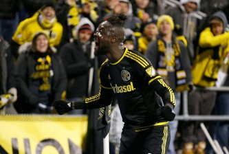 COLUMBUS, OH - NOVEMBER 22:  Kei Kamara #23 of the Columbus Crew SC celebrates after defeating the New York Red Bulls 2-0 on November 22, 2015 at MAPFRE Stadium in Columbus, Ohio. (Photo by Kirk Irwin/Getty Images)
