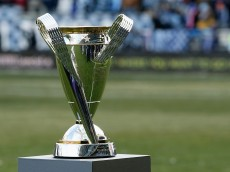 KANSAS CITY, KS - DECEMBER 07:  The Philip F. Anschutz trophy is seen on the field before the start of the match between Real Salt Lake and Sporting Kansas City in the 2013 MLS Cup at Sporting Park on December 7, 2013 in Kansas City, Kansas.  (Photo by Scott Halleran/Getty Images)