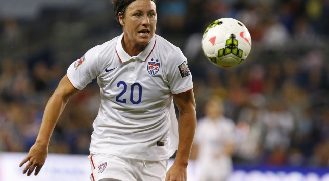 KANSAS CITY, KS - OCTOBER 15: Abby Wambach #20 of United States attempts gain control of a pass in the Trinidad & Tobago box late in the first half of the CONCACAF Women's Championship USA 2014 on October 15, 2014 at Sporting Park in Kansas City, Kansas.  (Photo by Kyle Rivas/Getty Images)