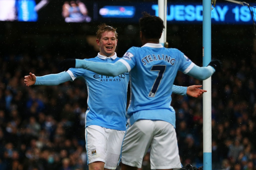 MANCHESTER, ENGLAND - NOVEMBER 28: Kevin de Bruyne (L) of Manchester City celebrates scoring his team's first goal with his team mate Raheem Sterling (R) during the Barclays Premier League match between Manchester City and Southampton at the Etihad Stadium on November 28, 2015 in Manchester, England.  (Photo by Michael Steele/Getty Images)