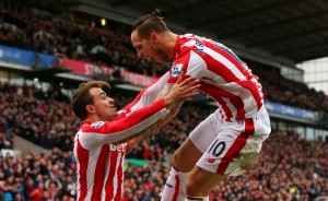 STOKE ON TRENT, ENGLAND - DECEMBER 05:  Marko Arnautovic (R) of Stoke City celebrates scoring his team's first goal with his team mate Xherdan Shaqiri of Stoke City during the Barclays Premier League match between Stoke City and Manchester City at Britannia Stadium on December 5, 2015 in Stoke on Trent, England.  (Photo by Alex Livesey/Getty Images)