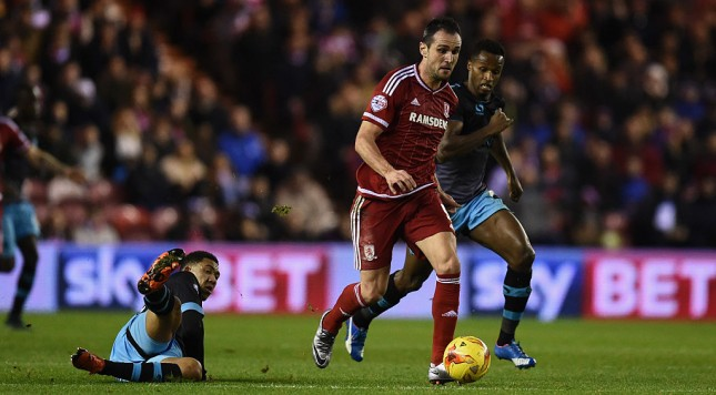 MIDDLESBROUGH, ENGLAND - DECEMBER 28:  Kike of Middlesbrough makes a break during the Sky Bet Championship match between Middlesbrough and  Sheffield Wednesday at the Riverside Stadium on December 28, 2015 in Middlesbrough, United Kingdom.  (Photo by Stu Forster/Getty Images)
