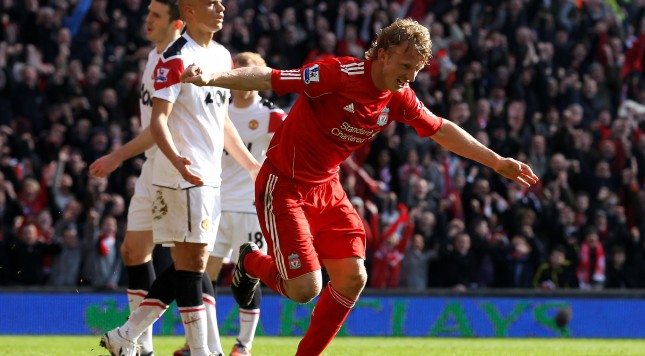 LIVERPOOL, ENGLAND - MARCH 06:  Dirk Kuyt of Liverpool celebrates scoring his team's second goal during the Barclays Premier League match between Liverpool and Manchester United at Anfield on March 6, 2011 in Liverpool, England.  (Photo by Alex Livesey/Getty Images)