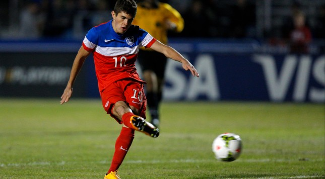 SARASOTA, FL - NOVEMBER 28:  Christian Pulisic #10 of the United States scores against England during the Nike International Friendlies at The Premier Sports Campus at Lakewood Ranch on November 28, 2014 in Sarasota, Florida. (Photo by Mike Carlson/Getty Images)