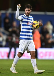 LONDON, ENGLAND - DECEMBER 20:  Charlie Austin of Queens Park Rangers celebtares after the Barclays Premier League match between Queens Park Rangers and West Bromwich Albion at Loftus Road on December 20, 2014 in London, England. (Photo by Tom Dulat/Getty Images)