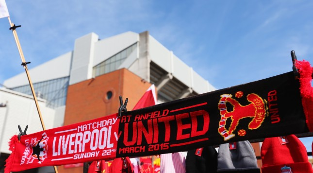 LIVERPOOL, ENGLAND - MARCH 22:  The match day scarf is displayed on a merchandise stall prior to the Barclays Premier League match between Liverpool and Manchester United at Anfield on March 22, 2015 in Liverpool, England.  (Photo by Alex Livesey/Getty Images)