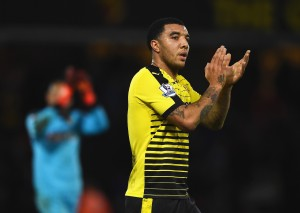 WATFORD, ENGLAND - DECEMBER 28: Troy Deeney of Watford applauds supporters after his team's 1-2 defeat in the Barclays Premier League match between Watford and Tottenham Hotspur at Vicarage Road on December 28, 2015 in Watford, England.  (Photo by Laurence Griffiths/Getty Images)
