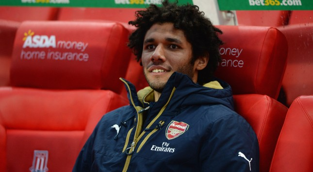 STOKE ON TRENT, ENGLAND - JANUARY 17:  Mohamed Elneny of Arsenal sits on the bench prior to the Barclays Premier League match between Stoke City and Arsenal at Britannia Stadium on January 17, 2016 in Stoke on Trent, England.  (Photo by Gareth Copley/Getty Images)