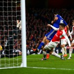LONDON, ENGLAND - JANUARY 24:  Diego Costa of Chelsea scores the opening goal during the Barclays Premier League match between Arsenal and Chelsea at Emirates Stadium on January 24, 2016 in London, England.  (Photo by Clive Mason/Getty Images)