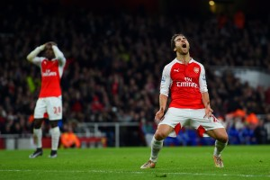 LONDON, ENGLAND - JANUARY 24:  Mathieu Flamini of Arsenal reacts to a missed opportunity during the Barclays Premier League match between Arsenal and Chelsea at Emirates Stadium on January 24, 2016 in London, England.  (Photo by Shaun Botterill/Getty Images)