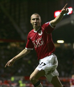 MANCHESTER, UNITED KINGDOM - JANUARY 27: Henrik Larsson of Manchester United celebrates his subsequently disallowed goal during the FA Cup sponsored by E.ON Fourth Round match between Manchester United and Portsmouth at Old Trafford on January 27, 2007 in Manchester, England. (Photo by Alex Livesey/Getty Images)