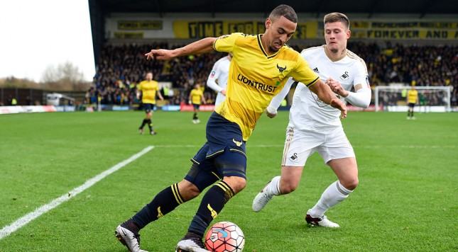 OXFORD, ENGLAND - JANUARY 10:  Oxford player Kemar Roofe in action during The Emirates FA Cup Third Round match between Oxford United and Swansea City at Kassam Stadium on January 10, 2016 in Oxford, England.  (Photo by Stu Forster/Getty Images)