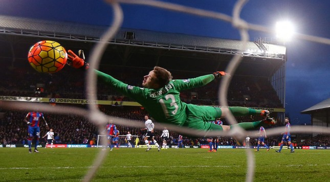 LONDON, ENGLAND - JANUARY 23: Wayne Hennessey of Crystal Palace dives in vain as Nacer Chadli of Tottenham Hotspur scores his team's third goal during the Barclays Premier League match between Crystal Palace and Tottenham Hotspur at Selhurst Park on January 23, 2016 in London, England.  (Photo by Ian Walton/Getty Images)
