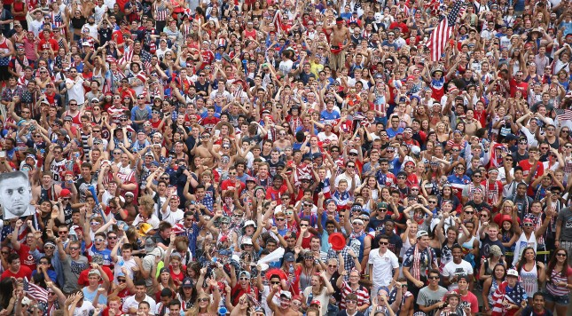 CHICAGO, IL - JULY 01:  Fans gather at Soldier Field to watch USA take on Belgium in a World Cup match being played at Arena Fonte Nova in Salvador, Brazil on July 1, 2014 in Chicago, Illinois. Organizers said 28,000 people were in attendance at Soldier Field.  (Photo by Scott Olson/Getty Images)