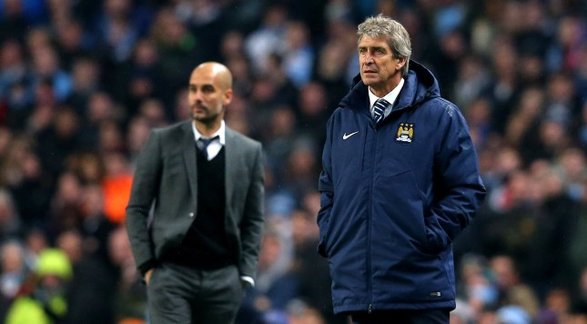 MANCHESTER, ENGLAND - NOVEMBER 25:  (R-L) Manuel Pellegrini the manager of Manchester City and Josep Guardiola the head coach of Bayern Muenchen look on during the UEFA Champions League Group E match between Manchester City and FC Bayern Muenchen at the Etihad Stadium on November 25, 2014 in Manchester, United Kingdom.  (Photo by Alex Livesey/Getty Images)