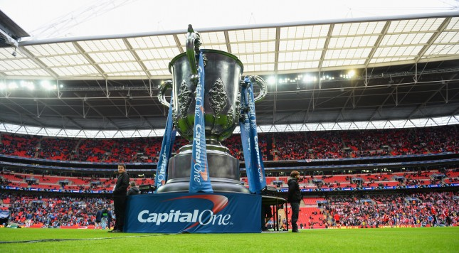 LONDON, ENGLAND - MARCH 02: A large Capital One Cup is pictured prior to the Capital One Cup Final between Manchester City and Sunderland at Wembley Stadium on March 2, 2014 in London, England.  (Photo by Michael Regan/Getty Images)