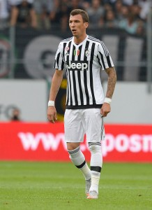 ST GALLEN, SWITZERLAND - JULY 25: Mario Mandzukic of Juventus reacts during the friendly match between Juventus and Borussia Dortmund on July 25, 2015 in St Gallen, Switzerland.  (Photo by Daniel Kopatsch/Getty Images)