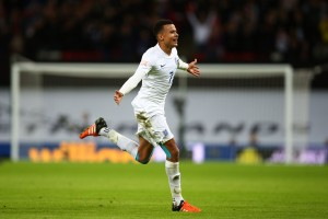 LONDON, ENGLAND - NOVEMBER 17:  Dele Alli of England celebrates scores his team's first goal during the International Friendly match between England and France at Wembley Stadium on November 17, 2015 in London, England.  (Photo by Paul Gilham/Getty Images)