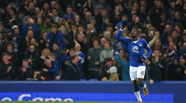 LIVERPOOL, ENGLAND - DECEMBER 28:  Romelu Lukaku of Everton celebrates scoring his team's second goal  during the Barclays Premier League match between Everton and Stoke City at Goodison Park on December 28, 2015 in Liverpool, England.  (Photo by Dave Thompson/Getty Images)