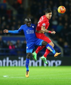 during the Barclays Premier League match between Leicester City and Liverpool at The King Power Stadium on February 2, 2016 in Leicester, England.