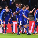 LEICESTER, ENGLAND - FEBRUARY 02: Jamie Vardy (1st L) of Leicester City celebrates scoring his team's first goal with his team mates during the Barclays Premier League match between Leicester City and Liverpool at The King Power Stadium on February 2, 2016 in Leicester, England.  (Photo by Michael Regan/Getty Images)