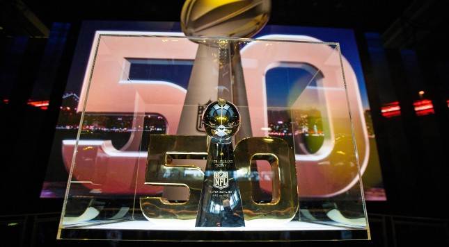SAN FRANCISCO, CA - FEBRUARY 03: Detailed view of the Vince Lombardi Trophy during the NFL Experience exhibition before Super Bowl 50 at the Moscone Center on February 3, 2016 in San Francisco, California.  (Photo by Jason O. Watson/Getty Images)