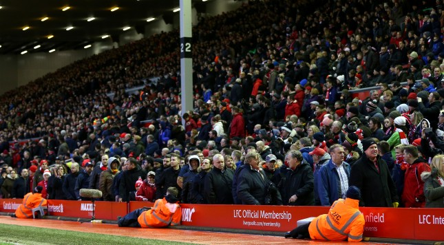 during the Barclays Premier League match between Liverpool and Sunderland at Anfield on February 6, 2016 in Liverpool, England.