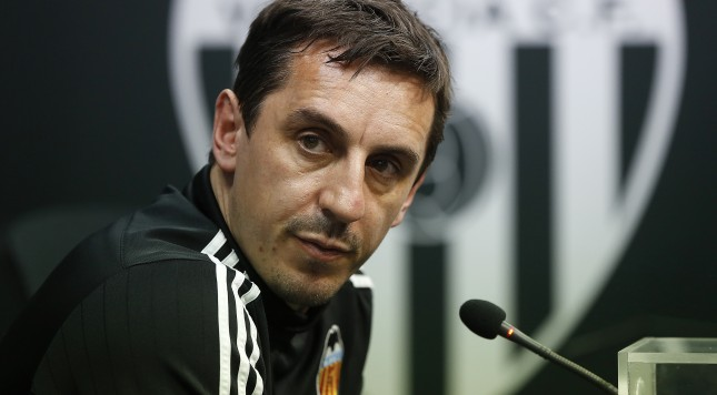 VALENCIA, SPAIN - FEBRUARY 09:  Gary Neville manager of Valencia CF faces the media during a press conference ahead of Wednesday's Copa del Rey Semi Final, second leg match between Valencia CF and FC Barcelona at Paterna Training Centre on February 9, 2016 in Valencia, Spain.  (Photo by Manuel Queimadelos Alonso/Getty Images)