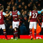 LONDON, ENGLAND - FEBRUARY 09:  Michail Antonio of West Ham United (30) celebrates with Mark Noble (16), Dimitri Payet (27) and Cheikhou Kouyate (8) as he socres their first goal during the Emirates FA Cup Fourth Round Replay match between West Ham United and Liverpool at Boleyn Ground on February 9, 2016 in London, England.  (Photo by Clive Rose/Getty Images)