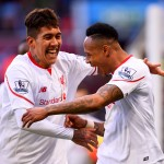 BIRMINGHAM, ENGLAND - FEBRUARY 14:  Nathaniel Clyne of Liverpool celebrates with team-mate Roberto Firmino after scoring his team's fifth goal during the Barclays Premier League match between Aston Villa and Liverpool at Villa Park on February 14, 2016 in Birmingham, England.  (Photo by Stu Forster/Getty Images)