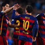 BARCELONA, SPAIN - FEBRUARY 14:  Lionel Messi of FC Barcelona celebrates with his teammates Neymar (L) and Luis Suarez of FC Barcelona after scoring the opening goal during the La Liga match between FC Barcelona and Celta Vigo at Camp Nou on February 14, 2016 in Barcelona, Spain.  (Photo by David Ramos/Getty Images)