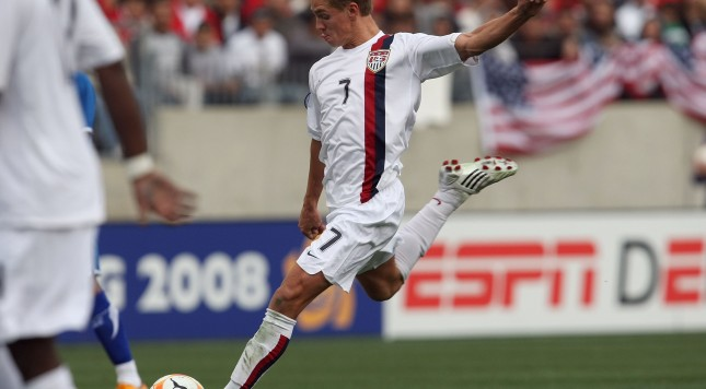 NASHVILLE - MARCH 23:  Stuart Holden #7 of the United States moves to strike the ball during the final match in the CONCACAF U-23 Men's Olympic Qualifying soccer tournament against Honduras on March 23, 2008 at LP Field in Nashville, Tennessee. Honduras defeated the United States 1-0 in overtime. (Photo by Jonathan Daniel/Getty Images)
