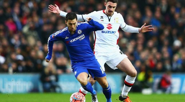 MILTON KEYNES, ENGLAND - JANUARY 31:  Eden Hazard of Chelsea is tackled by Darren Potter of MK Dons during the Emirates FA Cup Fourth Round match between Milton Keynes Dons and Chelsea at Stadium mk on January 31, 2016 in Milton Keynes, England.  (Photo by Clive Mason/Getty Images)