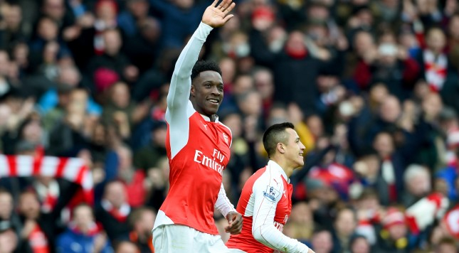 LONDON, ENGLAND - FEBRUARY 14:  Danny Welbeck of Arsenal celebrates after scoring the winning goal during the Barclays Premier League match between Arsenal and Leicester City at Emirates Stadium on February 14, 2016 in London, England.  (Photo by Ross Kinnaird/Getty Images)