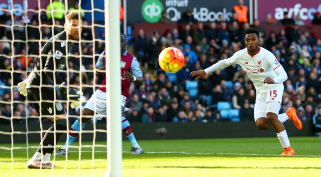 BIRMINGHAM, ENGLAND - FEBRUARY 14:  Daniel Sturridge of Liverpool scores the opening goal during the Barclays Premier League match between Aston Villa and Liverpool at Villa Park on February 14, 2016 in Birmingham, England.  (Photo by Michael Steele/Getty Images)