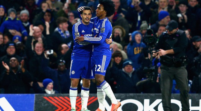 LONDON, ENGLAND - FEBRUARY 13:  Willian of Chelsea is congratulated on his goal by Team mate Pedro during the Barclays Premier League match between Chelsea and Newcastle at Stamford Bridge on February 13, 2016 in London, England.  (Photo by Clive Mason/Getty Images)