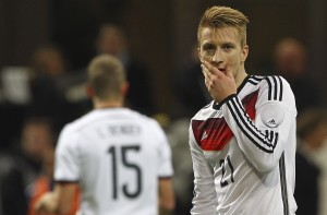 MILAN, ITALY - NOVEMBER 15:  Marco Reus of Germany shows his dejection during the international friendly match between Italy and Germany at Giuseppe Meazza Stadium on November 15, 2013 in Milan, Italy.  (Photo by Marco Luzzani/Getty Images)