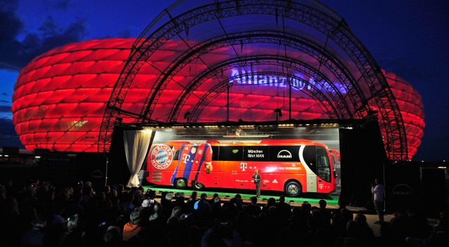 MUNICH, GERMANY - AUGUST 19:  Atmosphere during the presentation of the new team bus of FC Bayern Muenchen at Allianz Arena on August 19, 2014 in Munich, Germany.  (Photo by Lennart Preiss/Getty Images)