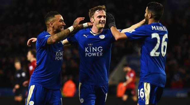 LEICESTER, ENGLAND - MARCH 01:  Andy King (C) of Leicester City celebrates scoring his team's second goal with his team mates Danny Simpson (L) and Riyad Mahrez (R) during the Barclays Premier League match between Leicester City and West Bromwich Albion at The King Power Stadium on March 1, 2016 in Leicester, England.  (Photo by Laurence Griffiths/Getty Images)
