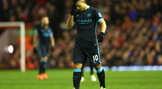 LIVERPOOL, ENGLAND - MARCH 02:  Sergio Aguero of Manchester City stands dejected during the Barclays Premier League match between Liverpool and Manchester City at Anfield on March 2, 2016 in Liverpool, England.  (Photo by Clive Brunskill/Getty Images)