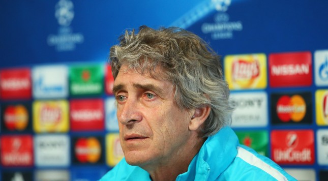MANCHESTER, ENGLAND - MARCH 14:  Manuel Pellegrini, manager of Manchester City talks during a press conference ahead of the UEFA Champions League Round of 16 Second Leg match against Dynamo Kyiv at the Football Academy training ground on March 14, 2016 in Manchester, United Kingdom.  (Photo by Alex Livesey/Getty Images)